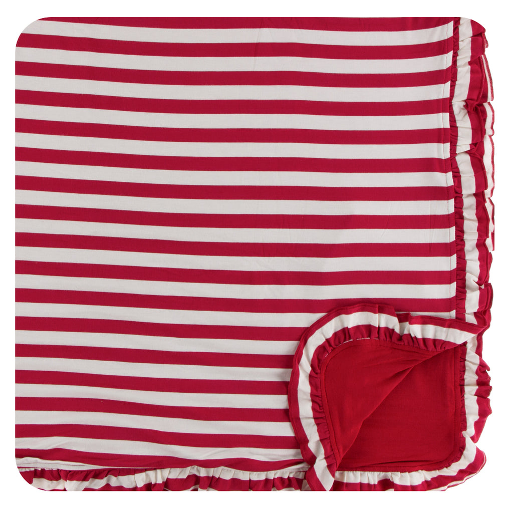 Print Ruffle Toddler Blanket in Candy Cane Stripe 2019