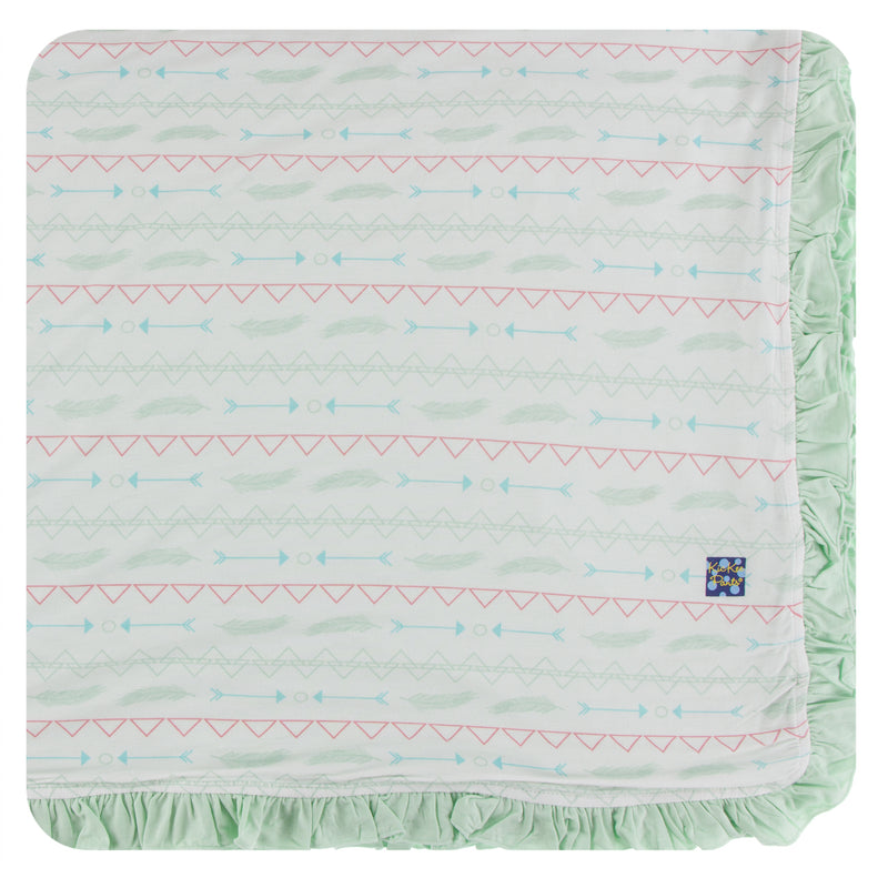 Print Ruffle Toddler Blanket in Pistachio Southwest