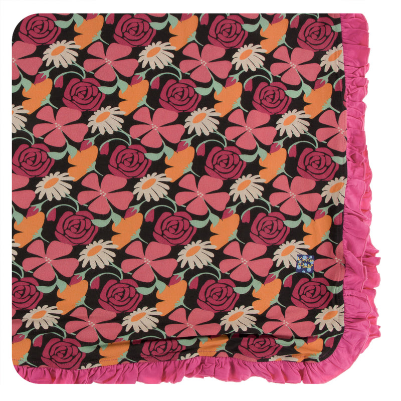 Print Ruffle Toddler Blanket in Zebra Market Flowers