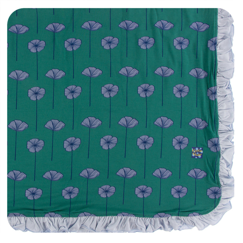 Print Ruffle Toddler Blanket in Ivy Poppies