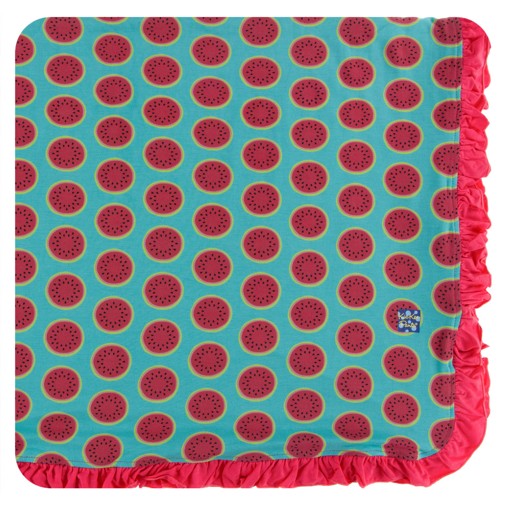 Print Ruffle Toddler Blanket in Neptune Watermelon
