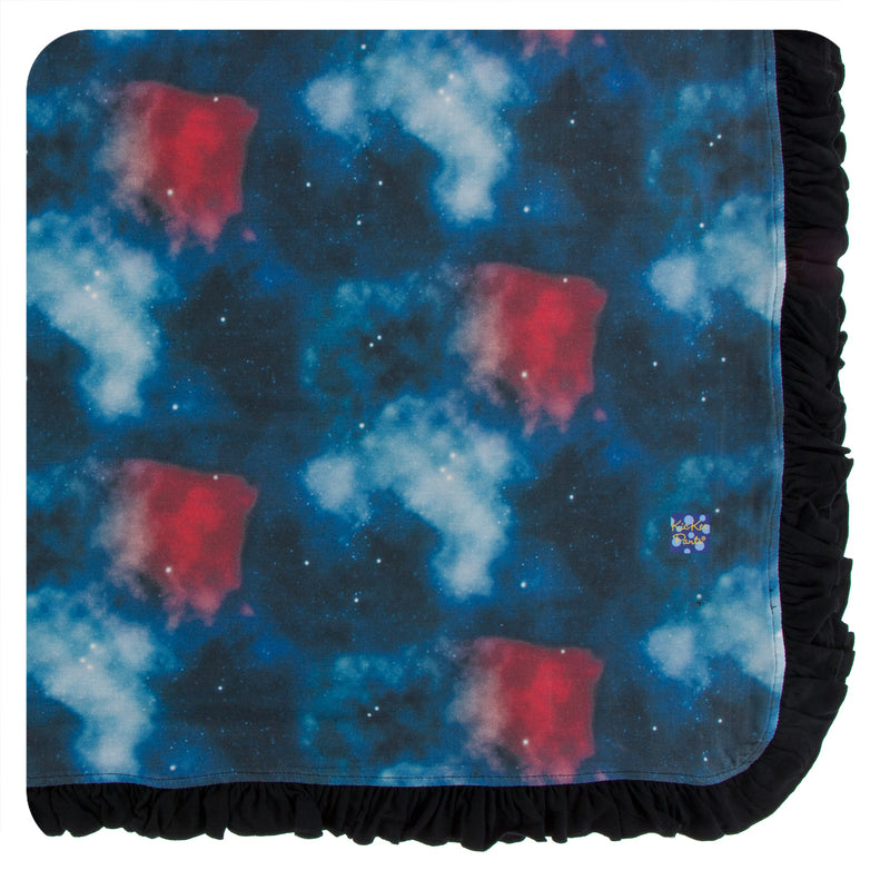 Print Ruffle Toddler Blanket in Red Ginger Galaxy