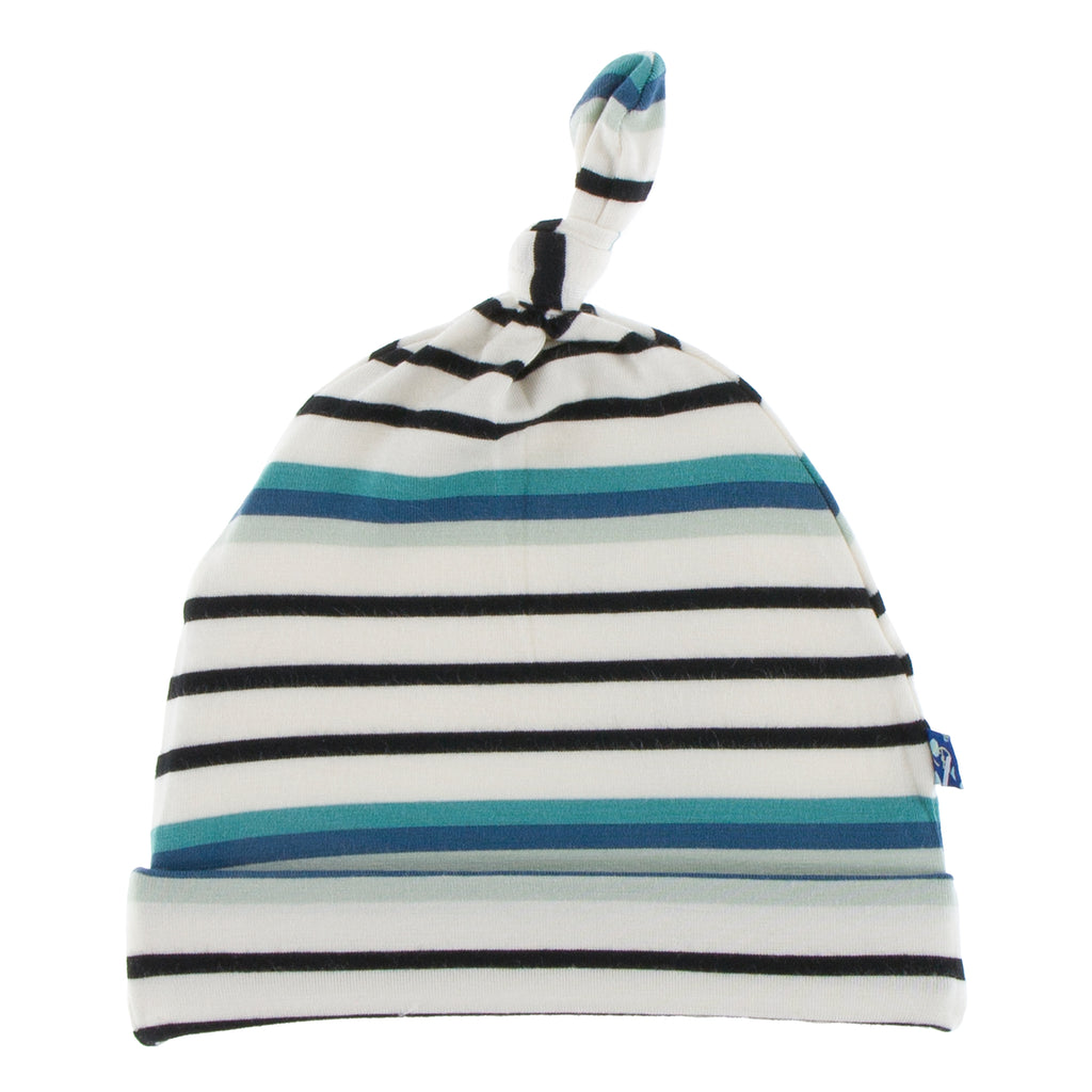 Print Knot Hat in Neptune Stripe