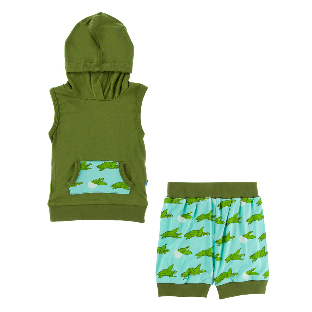 Print Hoodie Tank Outfit Set in Glass Sea Turtles