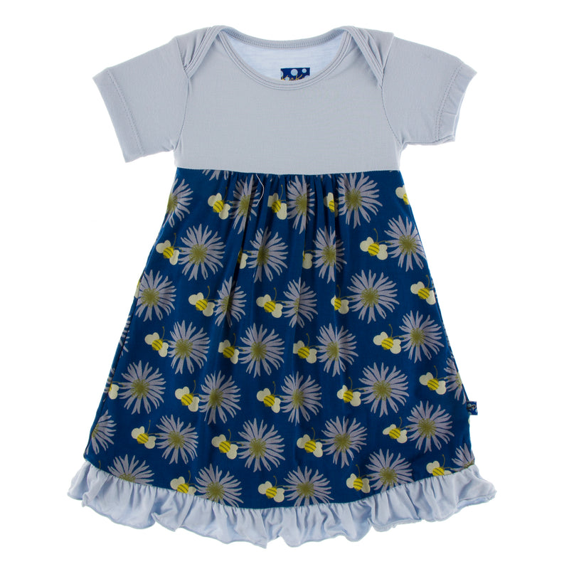 Print Short Sleeve Dress Romper in Navy Cornflower and Bee (12-18M)