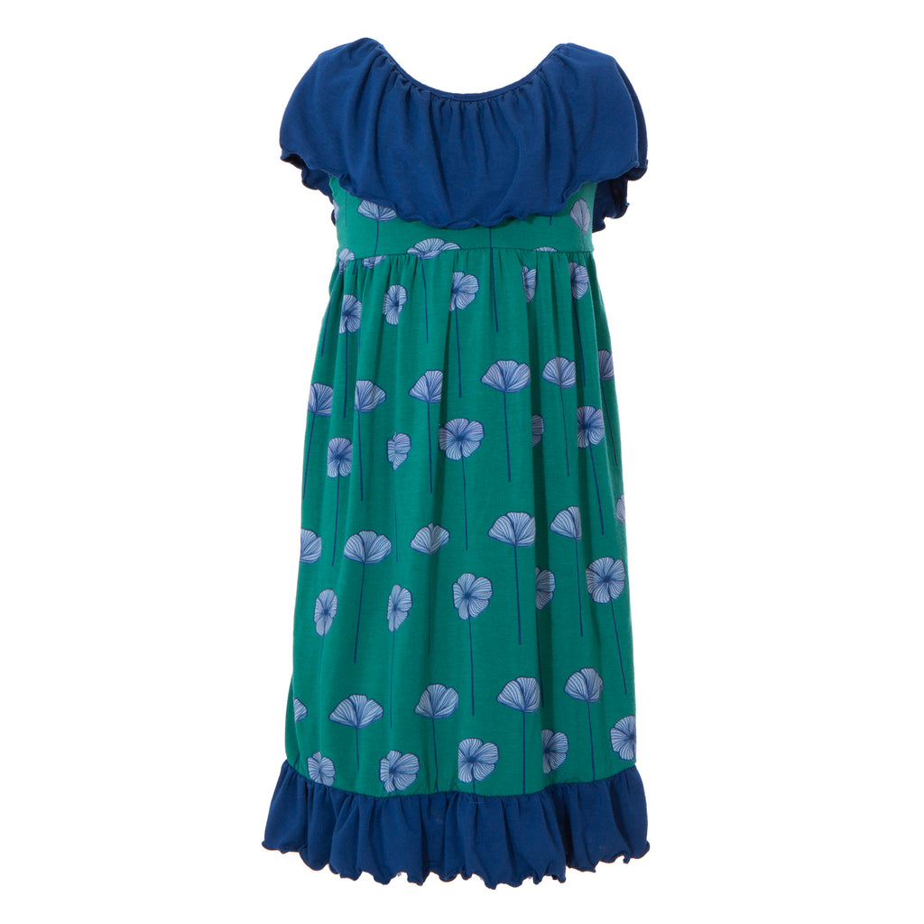Print Villa Dress in Ivy Poppies