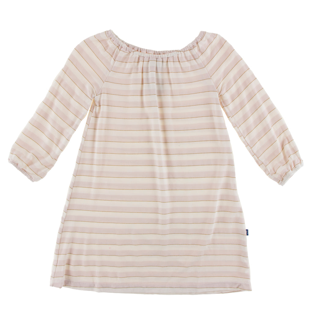 Print Long Sleeve Peasant Dress in Everyday Heroes Sweet Stripe - 3T