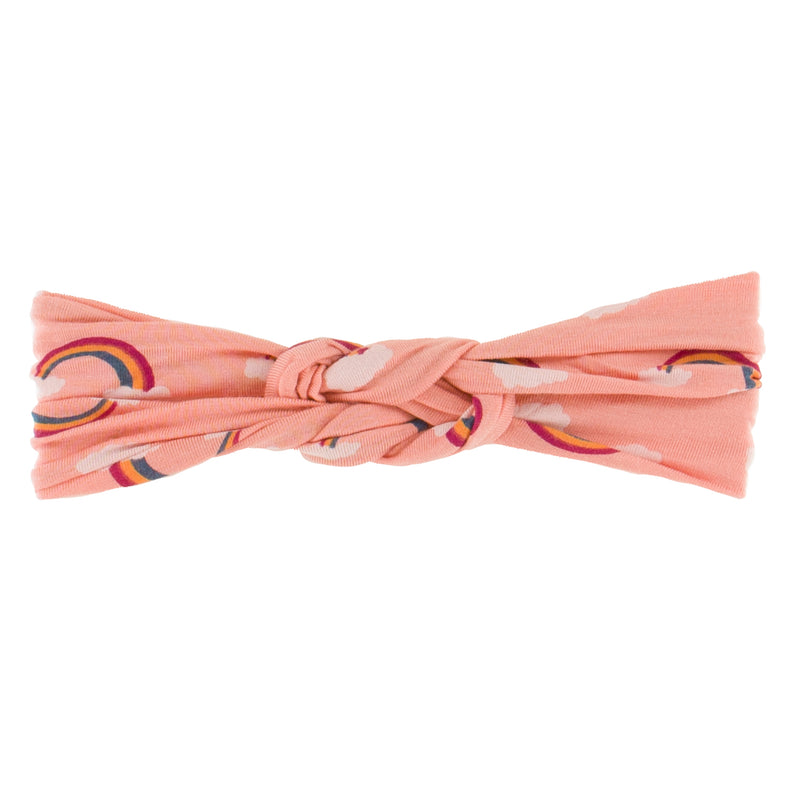 Print Knot Headband in Blush Rainbow