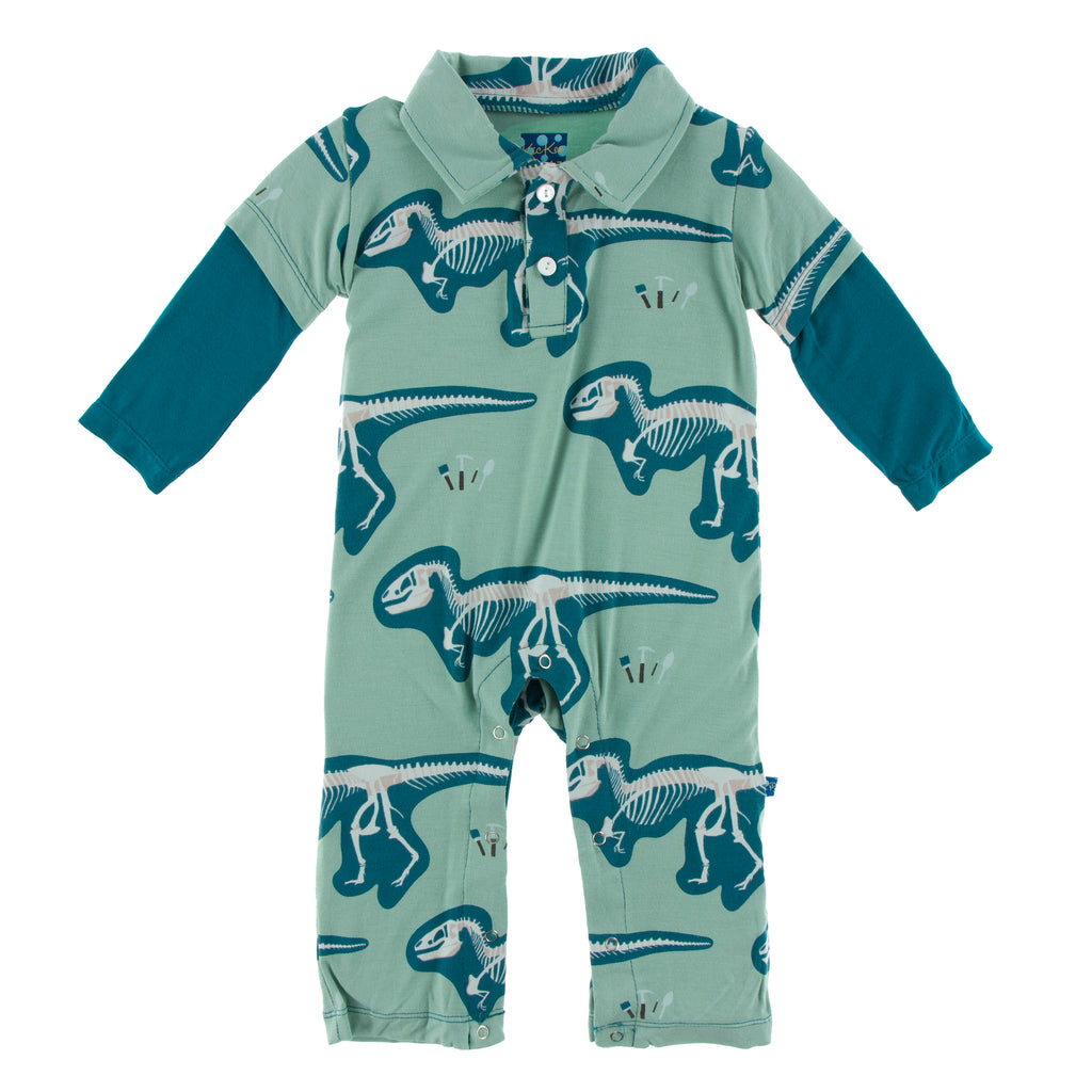 Print L/S Double Layer Polo Romper-Shore T-Rex Dig