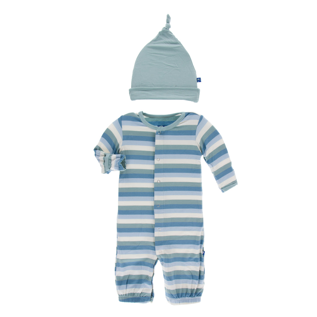 Print Gown Converter & Knot Hat Set in Oceanography Stripe (Newborn)