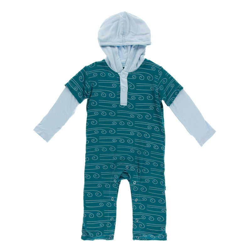 Print Long Sleeve Hoodie Romper in Heritage Blue Wind (3T)