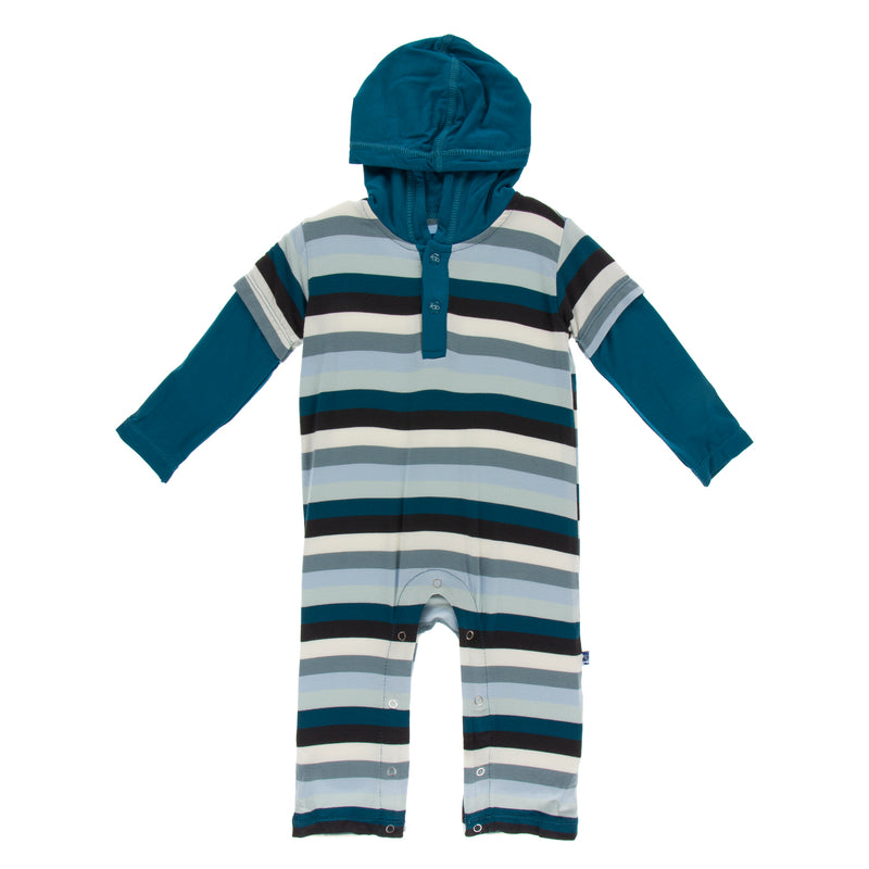 Print Long Sleeve Hoodie Romper in Meteorology Stripe (3T)
