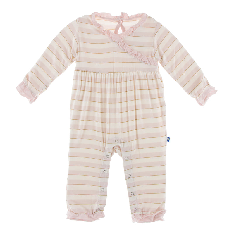 Print Long Sleeve Kimono Ruffle Romper in Everyday Heroes Sweet Stripe (6-12M)