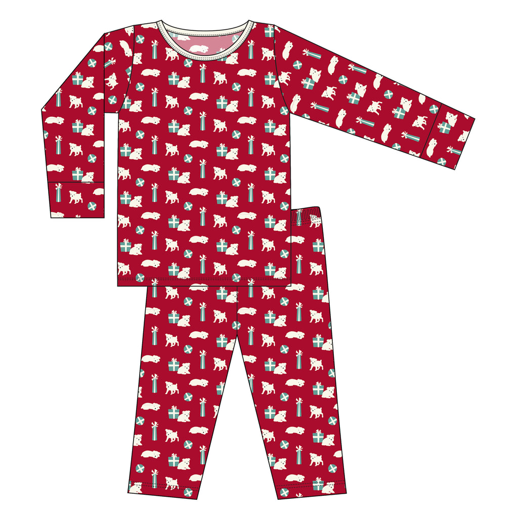 Print L/S Pajama set in Crimson Puppies and Presents
