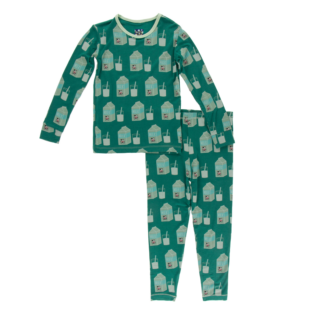 Print Long Sleeve Pajama Set in Ivy Milk