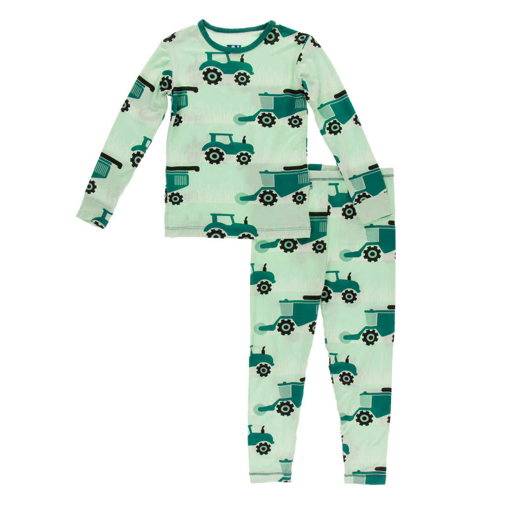 Print Long Sleeve Pajama Set in Pistachio Tractor