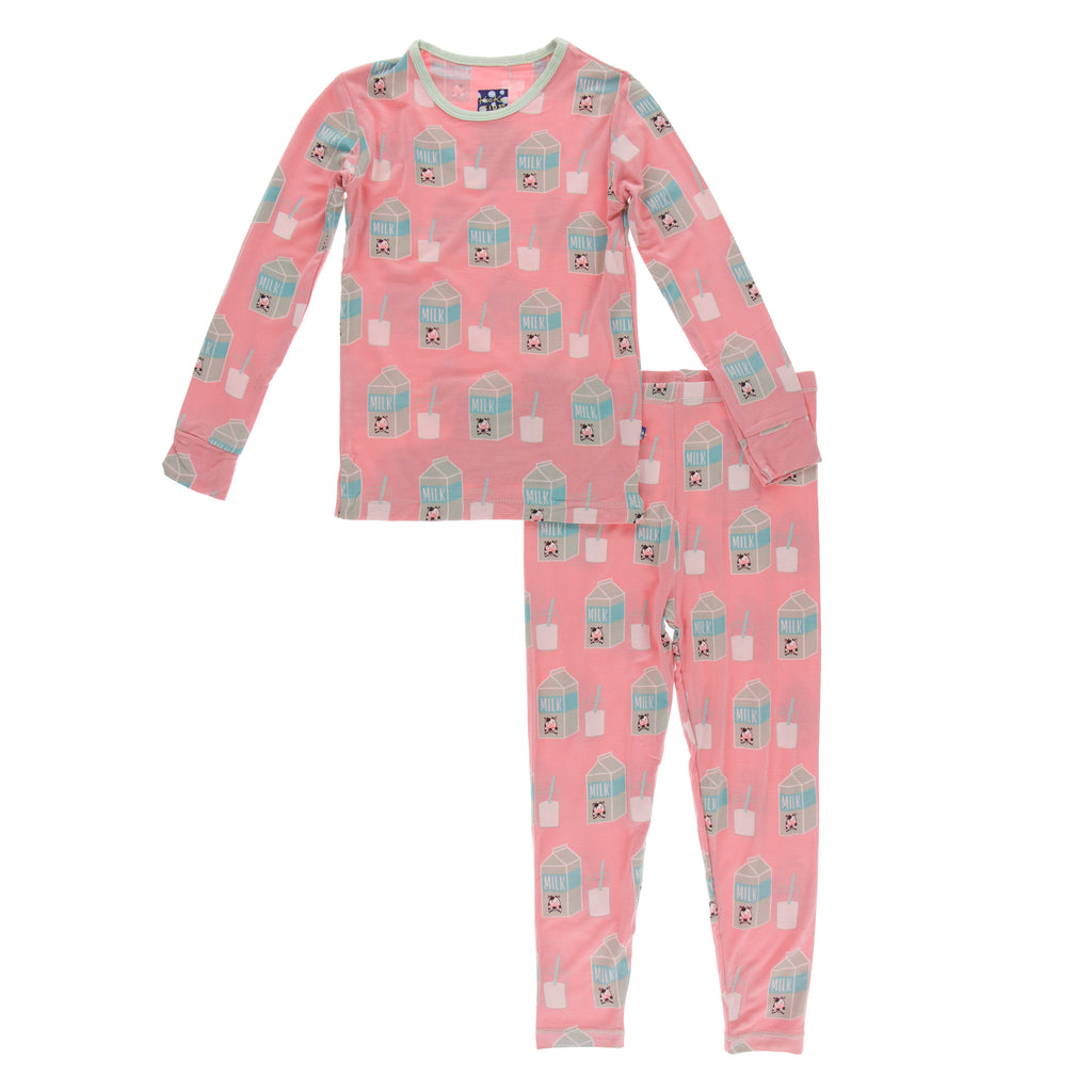 Print Long Sleeve Pajama Set in Strawberry Milk