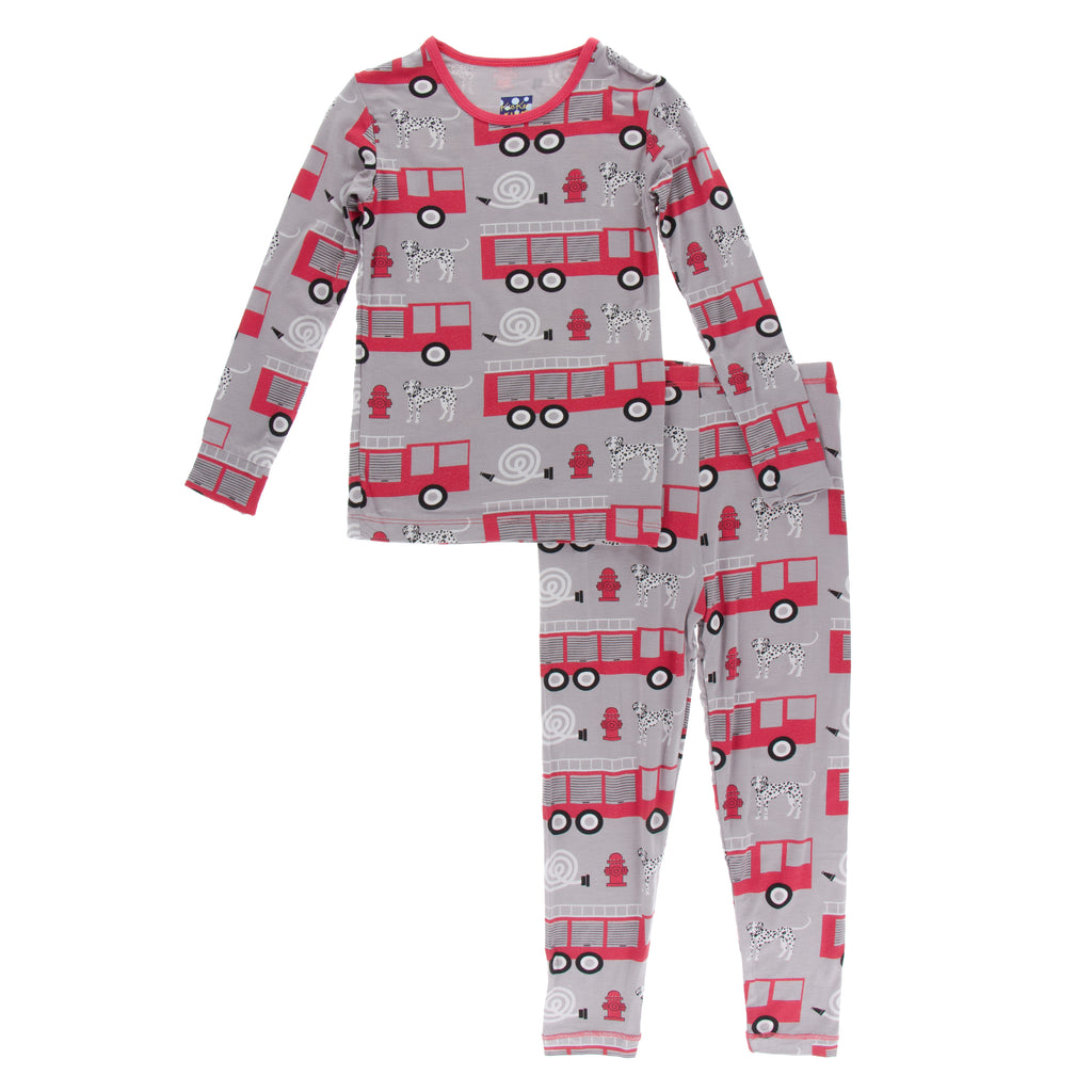 Print Long Sleeve Pajama Set in Feather Firefighter