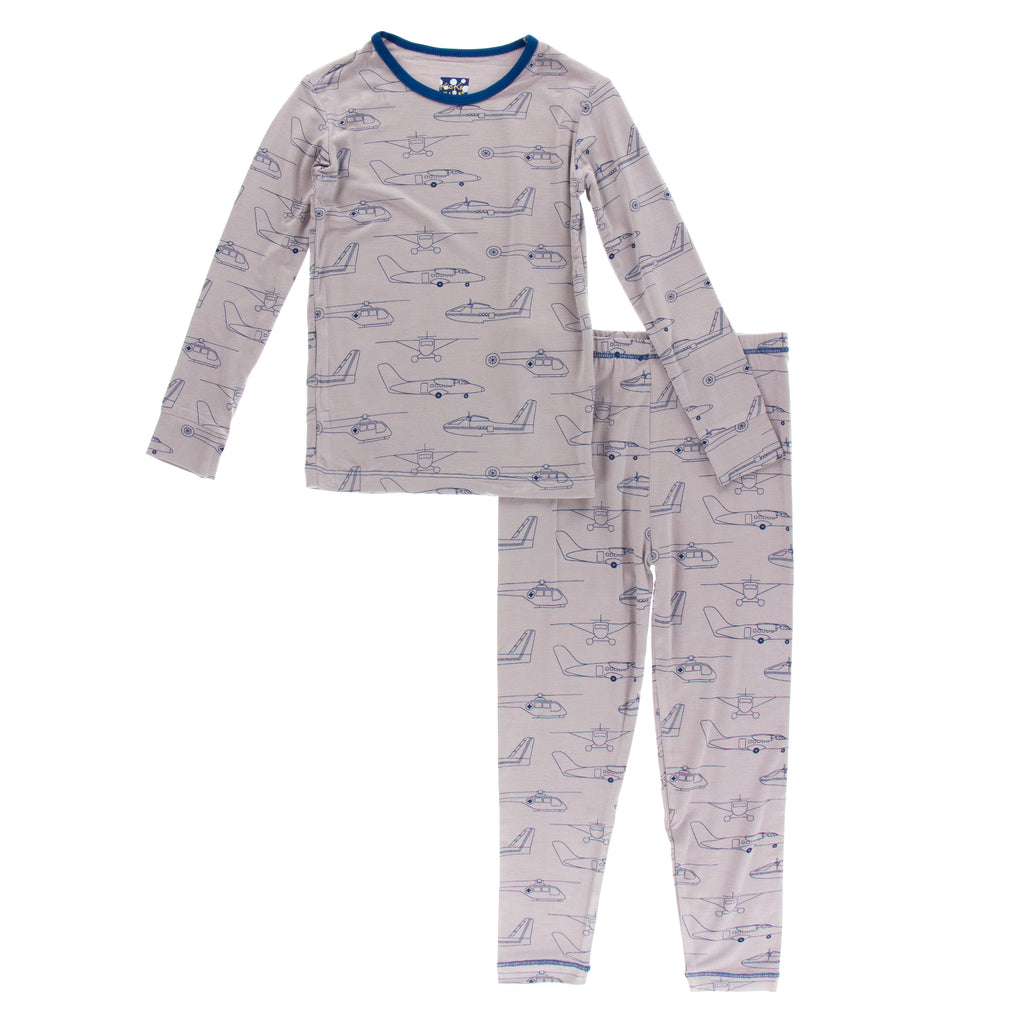 Long Sleeve Pajama Set in Feather Heroes in the Air