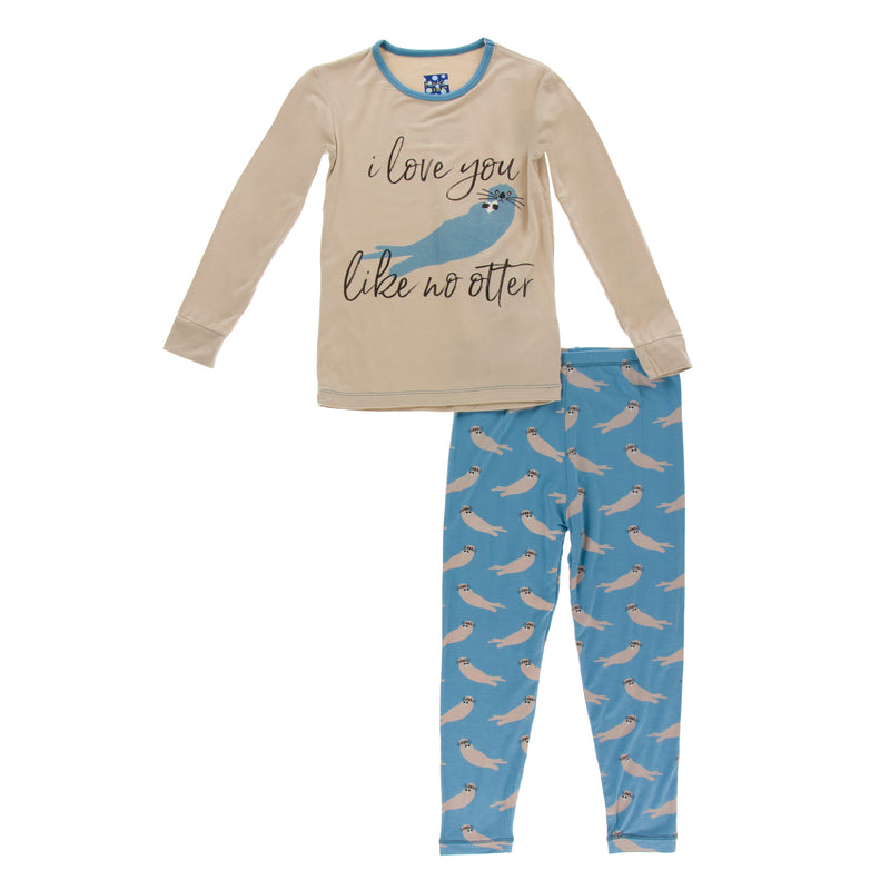 Print L/S Piece Pajama Set-Blue Moon Sea Otter