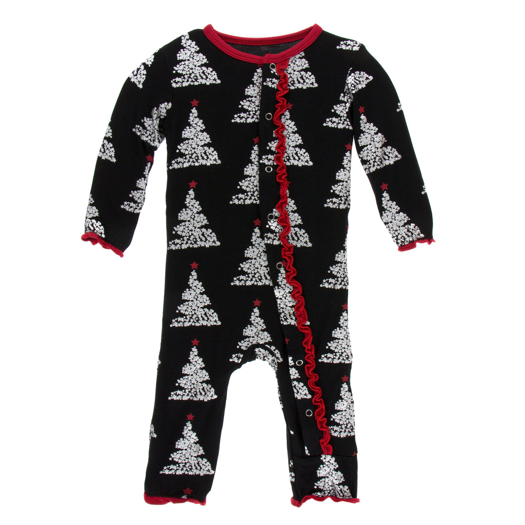 Print Muffin Ruffle Coverall with Snaps in Midnight Foil Tree (9-12M)