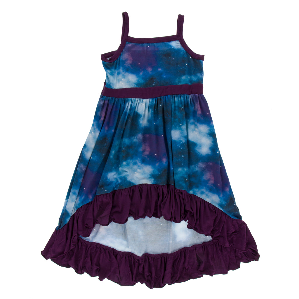 Print Hi Lo Maxi Dress in Wine Grapes Galaxy