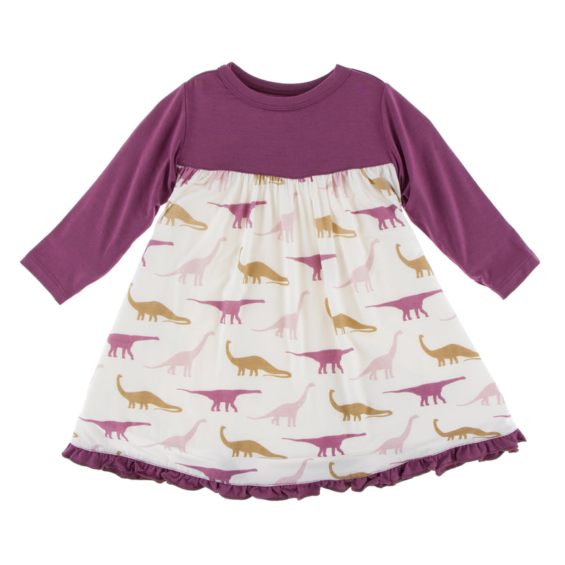 Print Classic Long Sleeve Swing Dress-Natural Sauropods