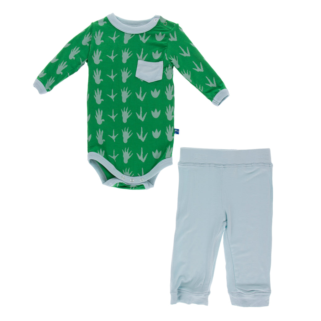 Print Long Sleeve Pocket One Piece and Pant Outfit Set (Dino Tracks)