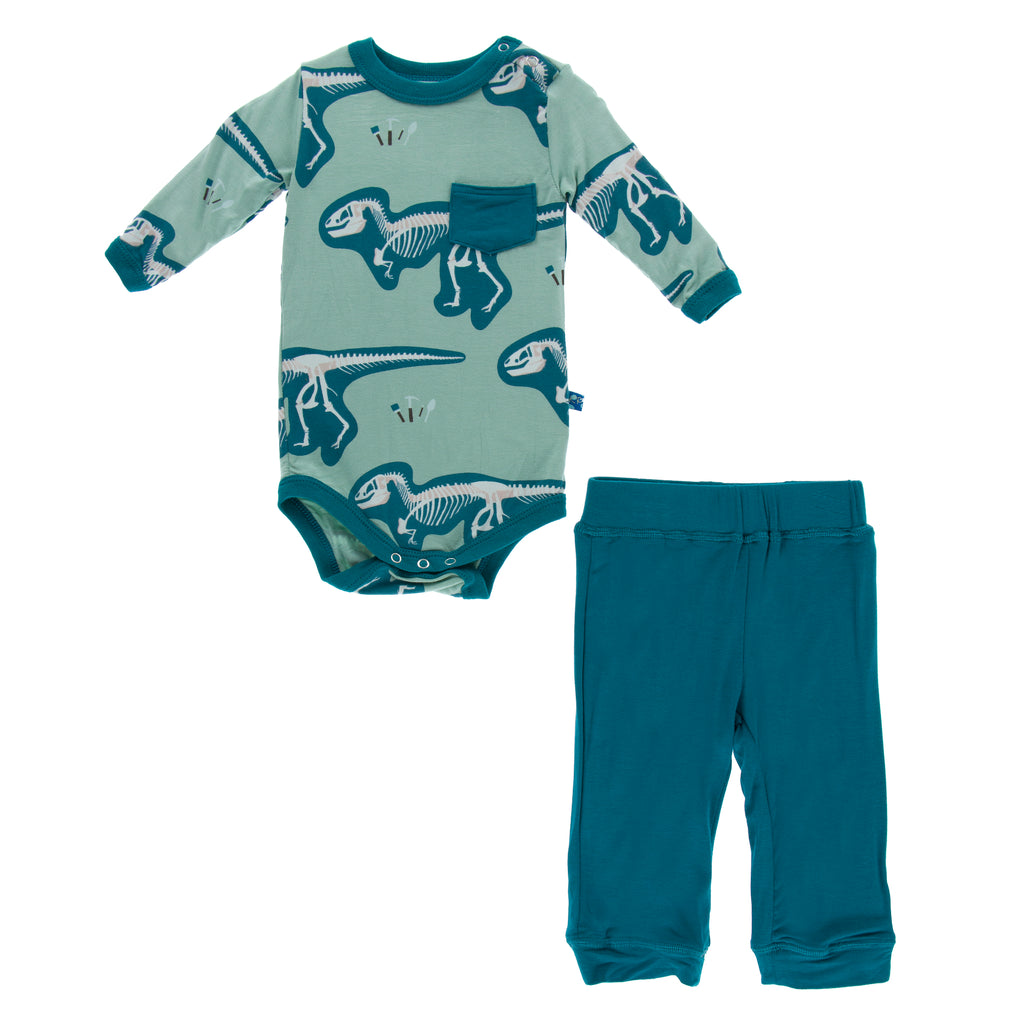 Print Long Sleeve Pocket One Piece and Pant Outfit Set (Shore T-Rex Dig)