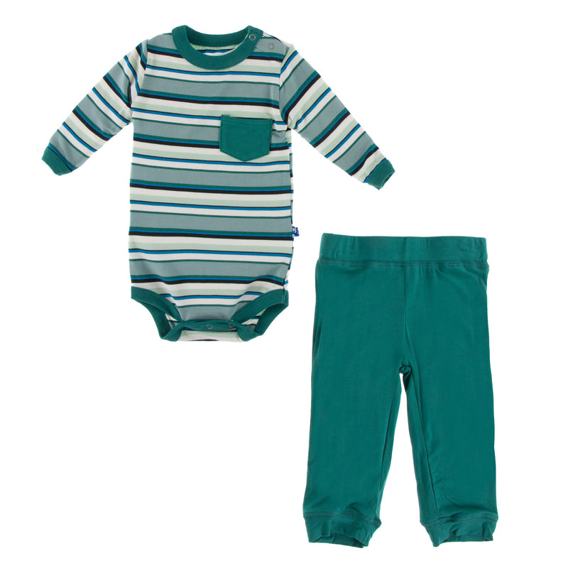 Print Long Sleeve Pocket One Piece and Pant Outfit Set in Multi Agriculture Stripe