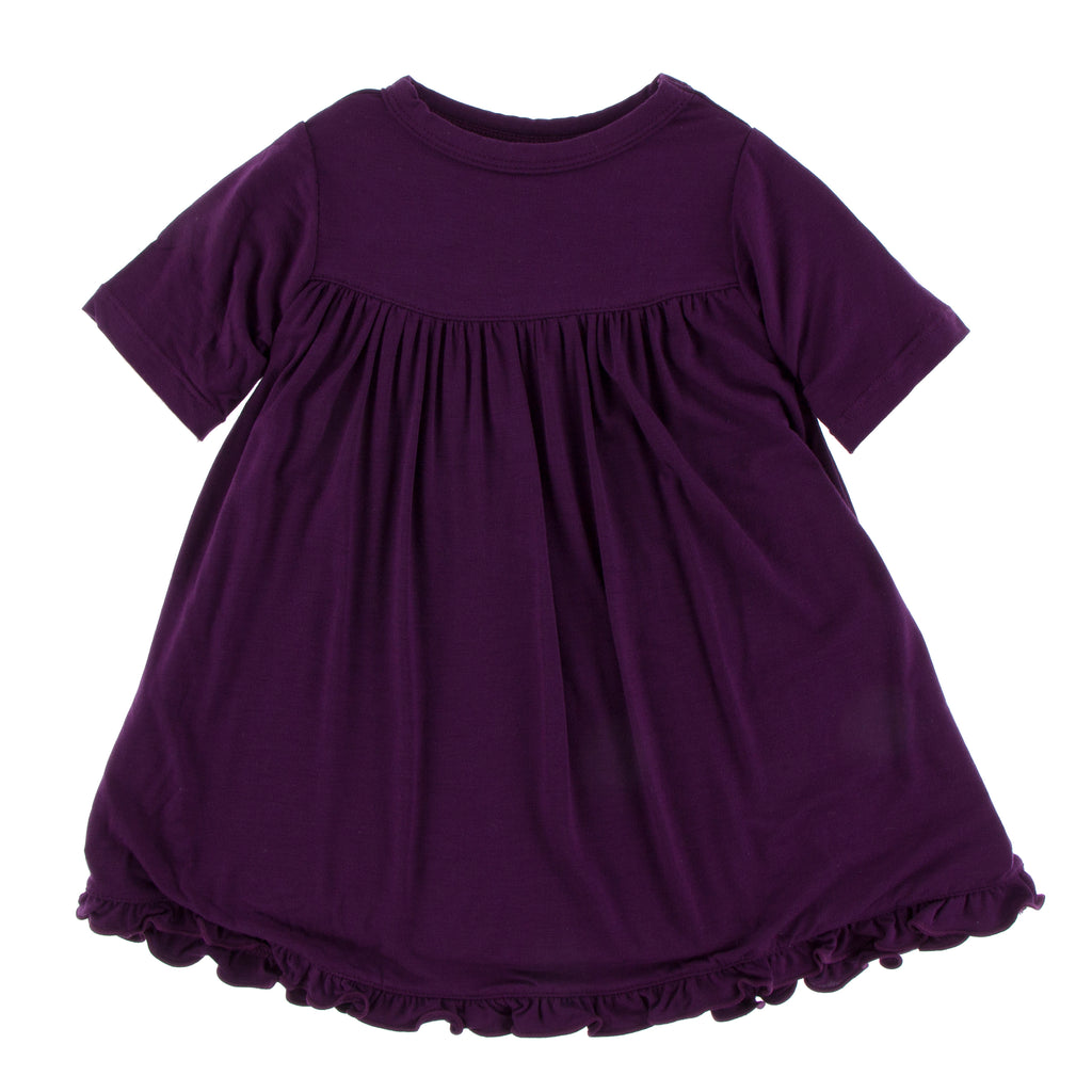 Solid Classic Short Sleeve Swing Dress in Wine Grapes (2T)