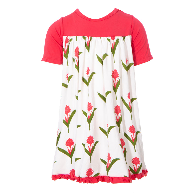Print Classic Short Sleeve Swing Dress in Natural Red Ginger Flowers