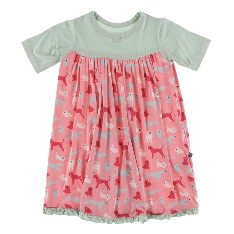 Print Classic Short Sleeve Swing Dress in Strawberry Domestic Animals