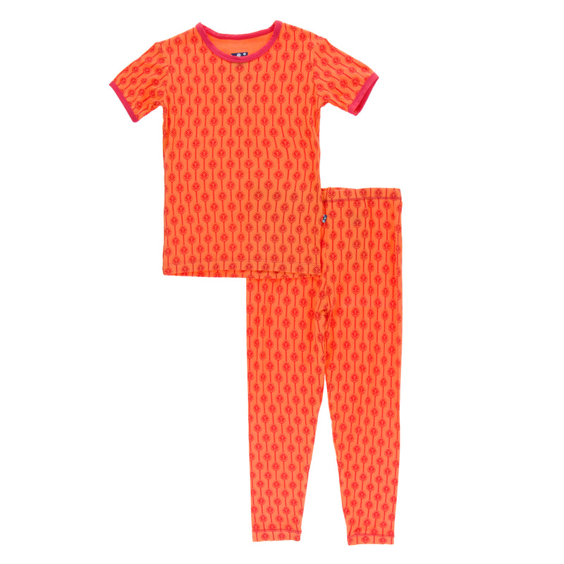 Print Short Sleeve Pajama Set in Nectarine Leaf Lattice (3T)