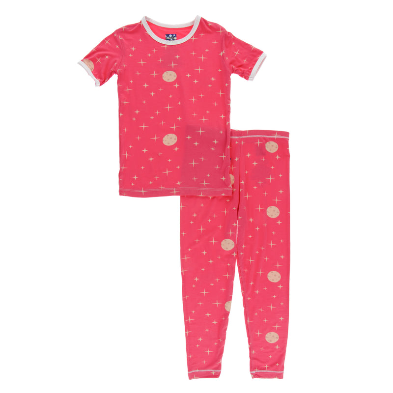 Print Short Sleeve Pajama Set in Red Ginger Full Moon (3T)