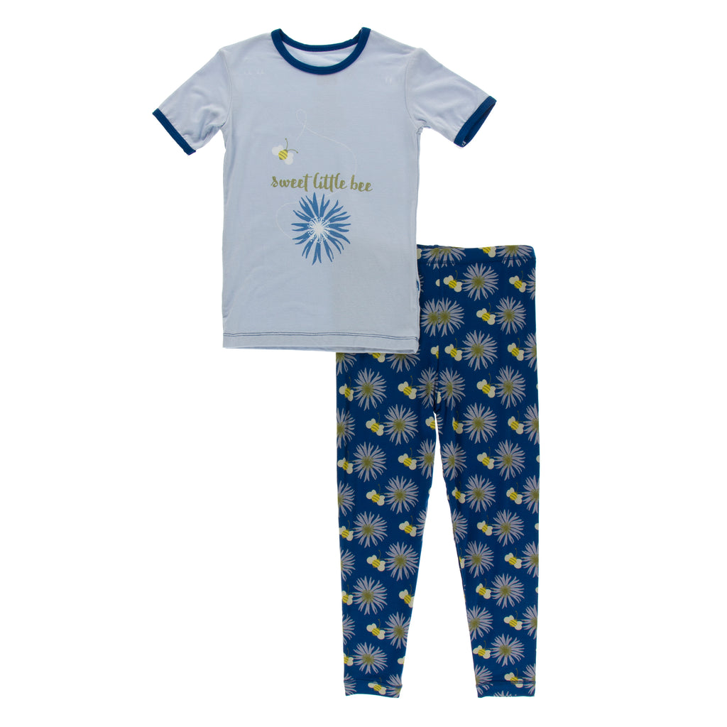Short Sleeve Piece Print Pajama Set in Navy Cornflower and Bee