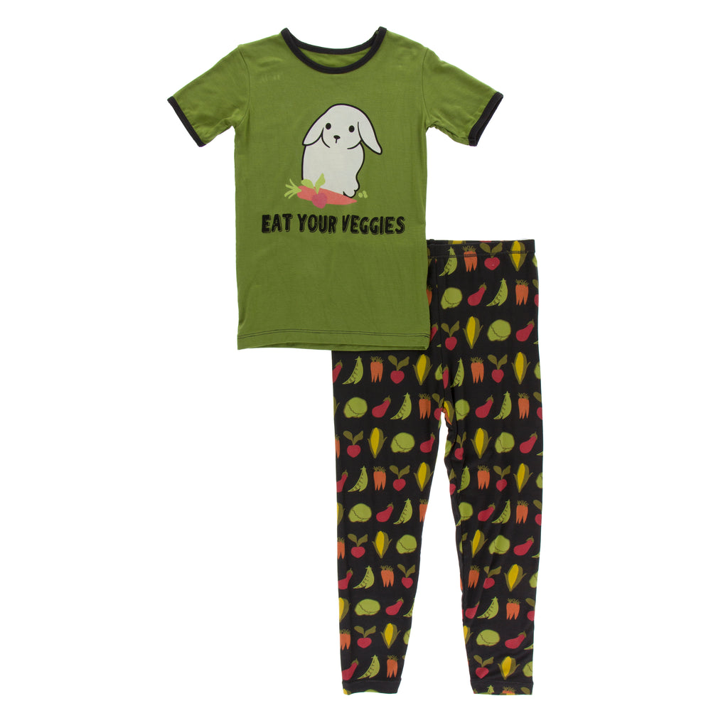 Short Sleeve Piece Print Pajama Set in Zebra Garden Veggies