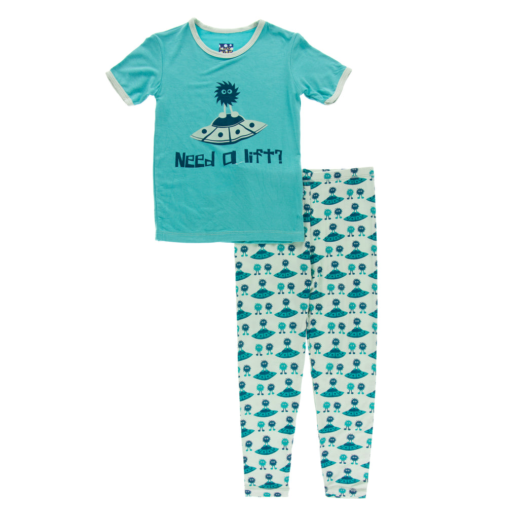 Short Sleeve Piece Print Pajama Set- Aloe Aliens with Flying Saucers