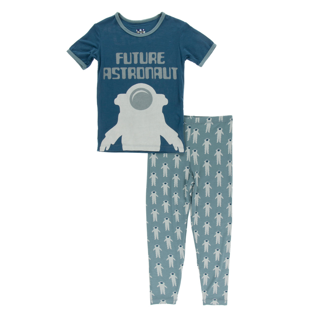 Short Sleeve Piece Print Pajama Set in Dusty Sky Astronaut
