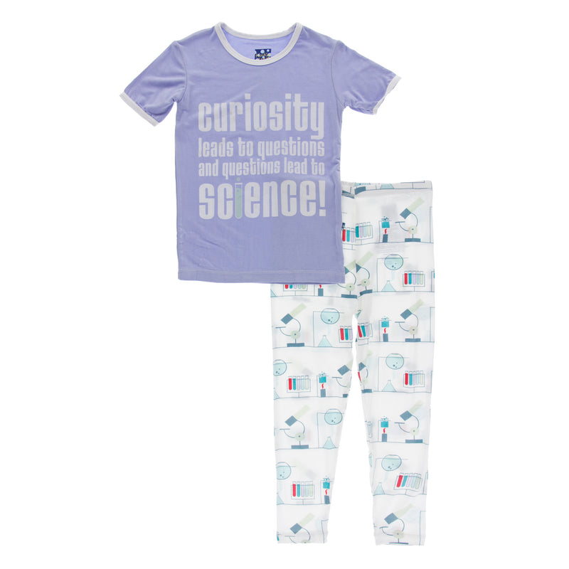 Short Sleeve Piece Print Pajama Set in Natural Chemistry Lab (3T)
