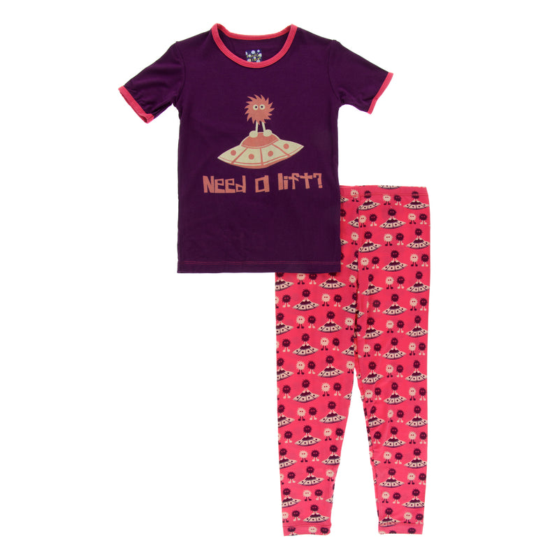 Short Sleeve Piece Print Pajama Set in Red Ginger Aliens with Flying Saucers