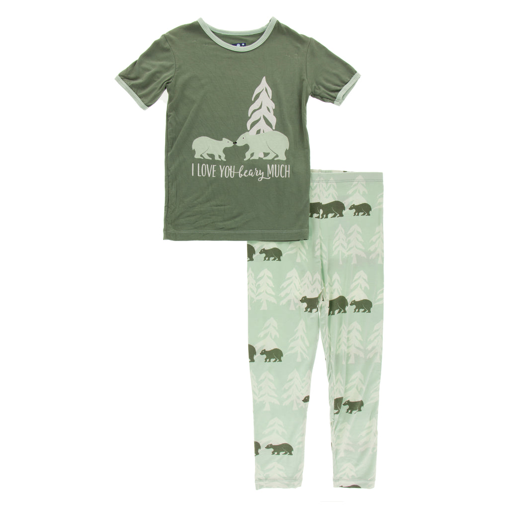 Short Sleeve Piece Print Pajama Set in Aloe Bears and Treeline