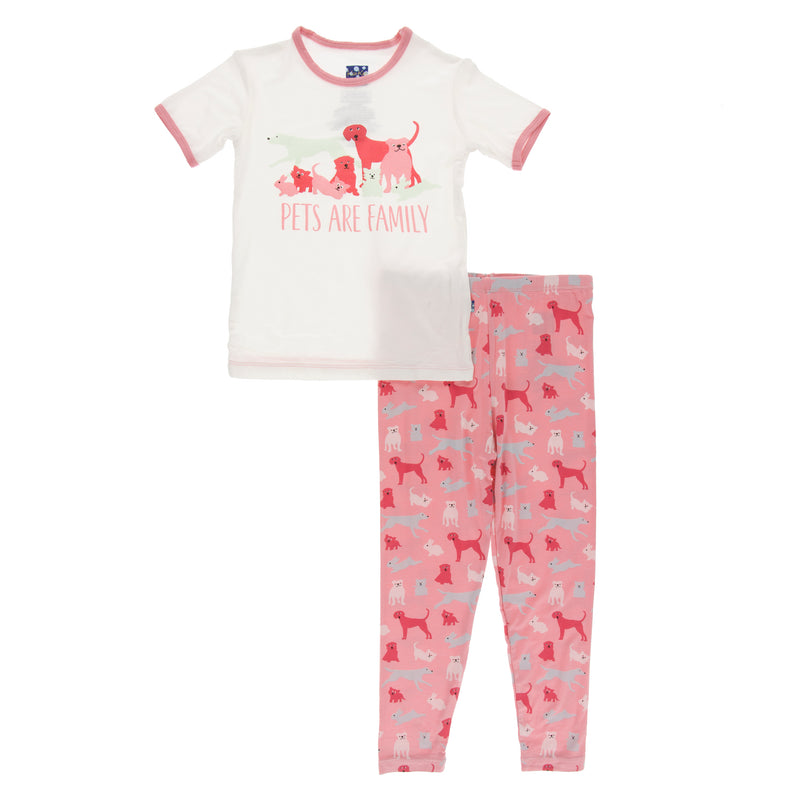 Short Sleeve Piece Print Pajama Set in Strawberry Domestic Animals