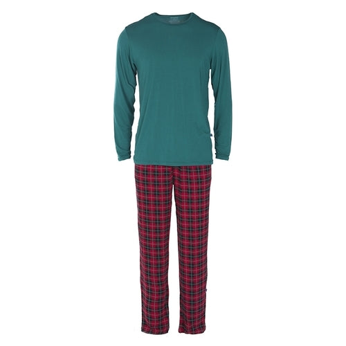 Men's Long Sleeve Tee & Pant Set- 2017 Christmas Plaid (Small)