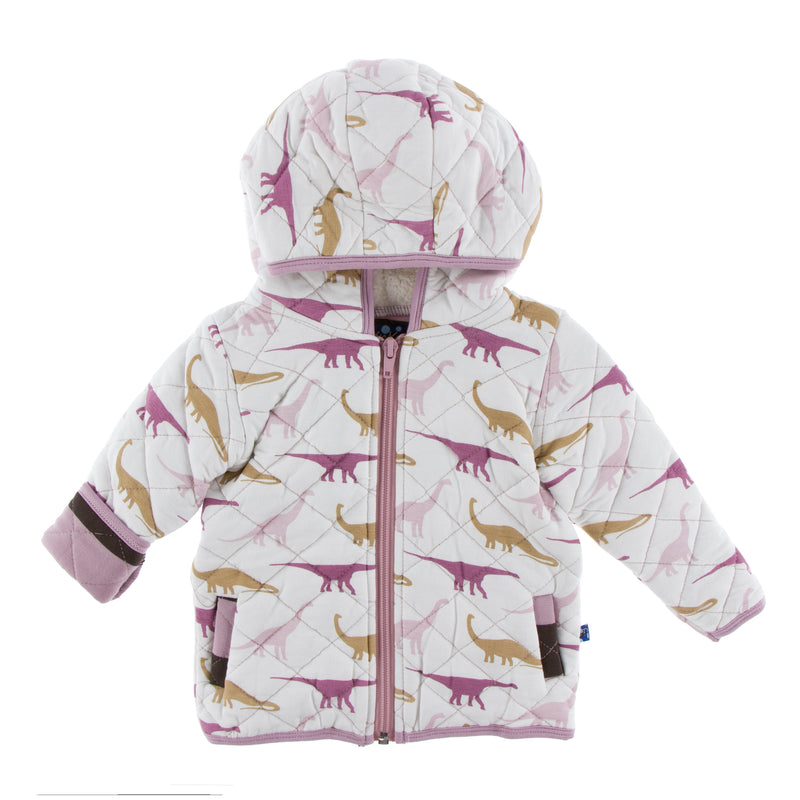 Print Quilted Jacket with Sherpa-Lined Hood (Natural Sauropods with Paleontology Flora Stripe)