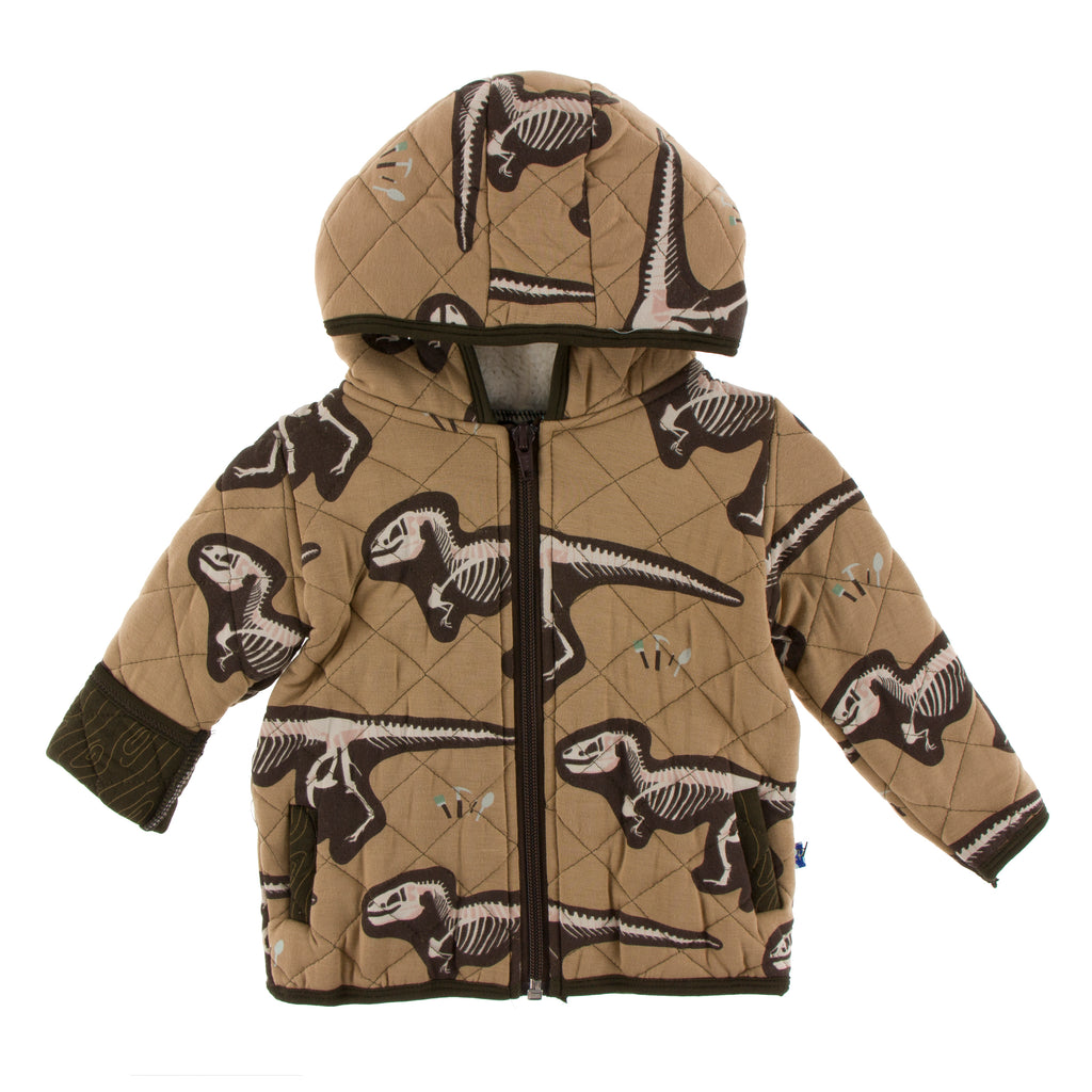 Print Quilted Jacket with Sherpa-Lined Hood (Tannin T-Rex Dig with Petrified Wood)
