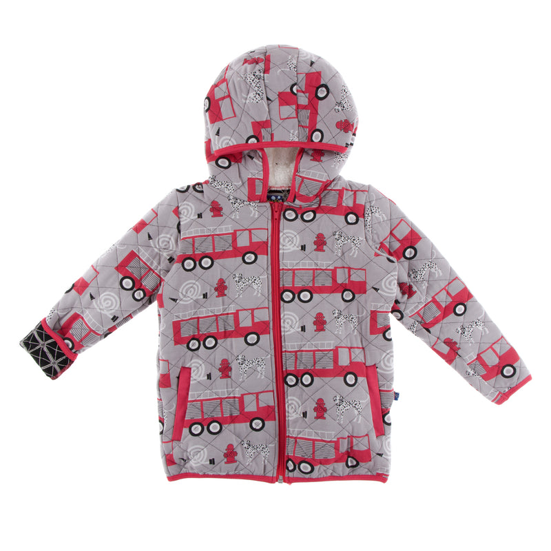 Print Quilted Jacket with Sherpa-Lined Hood in Feather Firefighter/Midnight Infrastructure