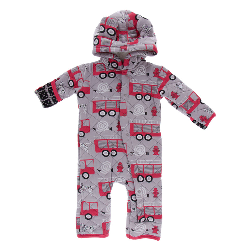 Print Quilted Hoodie Coverall with Sherpa-Lined Hood (Feather Firefighter/Midnight Infrastructure