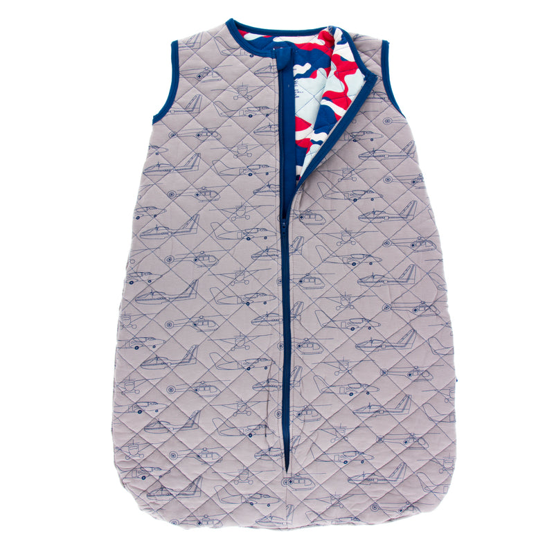 Print Quilted Sleeping Bag in Feather Heroes in the Air/Flag Red Military