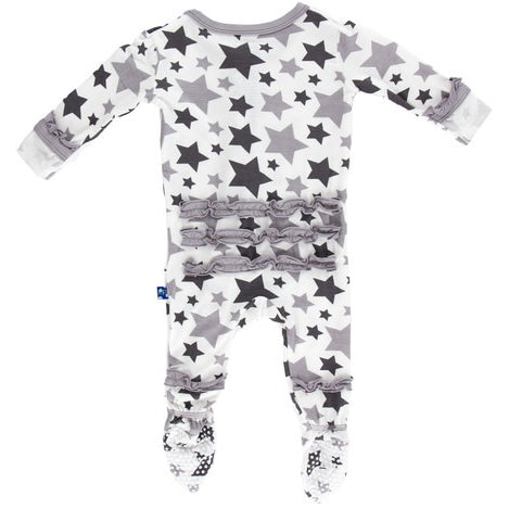 Essentials Classic Ruffle Footie- Feather & Rain Stars(Newborn)
